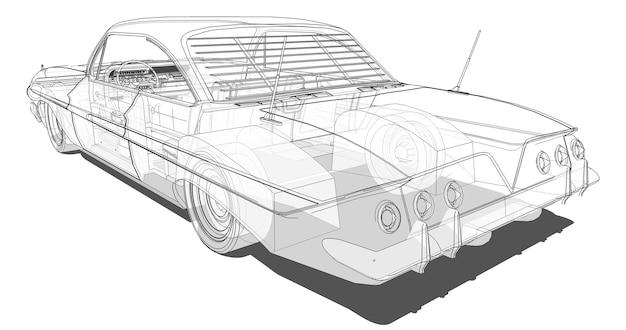 O velho carro americano é transparente nas linhas