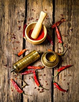 O velho moinho e argamassa com pimenta vermelha moída.