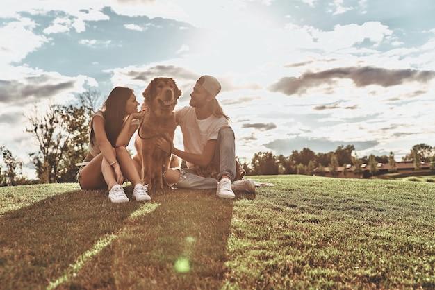 O verão cheio de alegria. jovem casal moderno olhando um para o outro e sorrindo enquanto está sentado na grama com seu cachorro no parque