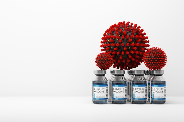 O vírus covid-19 junto com vacinas e medicamentos em renderização 3d de fundo branco