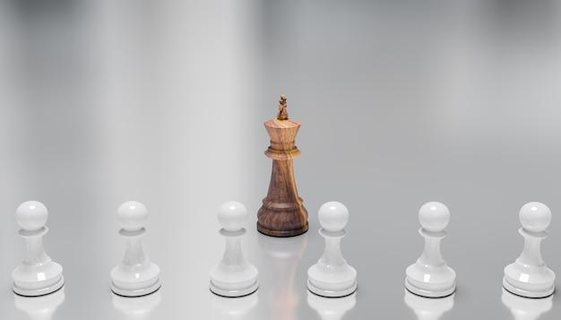 O xadrez king leva um líder no jogo, conceito de ação de liderança empresarial, renderização de ilustrações 3d