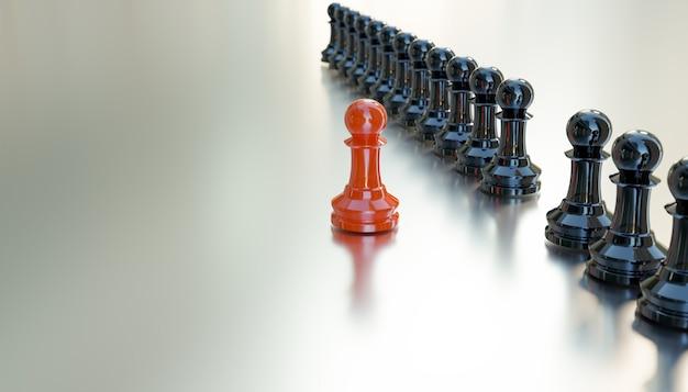 O xadrez vermelho é um líder, renderização de ilustrações em 3d
