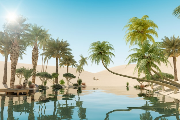 Oásis e palmeiras no deserto, renderização em 3d