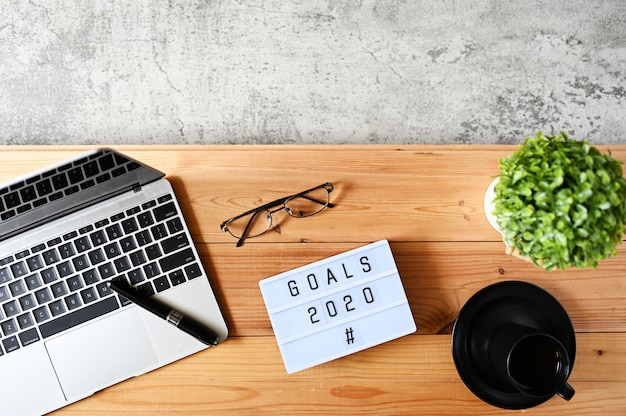 Objectivos 2020 conceito de negócio, vista superior