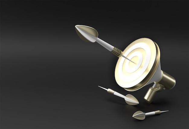 Objetivo de negócios alvo do alto-falante com a seta conquista de objetivos de negócios, objetivo, design 3d de estratégia de negócios.