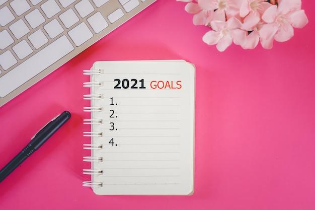 Objetivos para 2021, resoluções de ano novo, plano de fundo para fazer lista