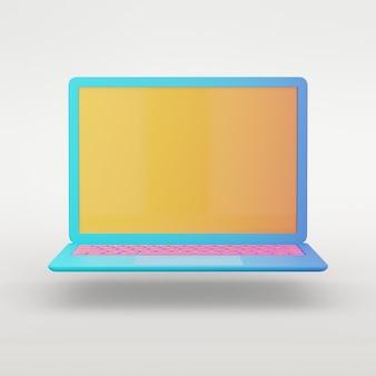 Objeto de renderização 3d. laptop azul colorido com tela amarela e fundo branco isolado de teclado rosa. imagem do trajeto de grampeamento.