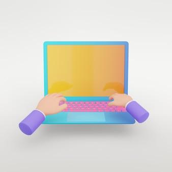 Objeto de renderização 3d. laptop azul colorido com tela amarela e teclado rosa com fundo branco isolado de operação de mãos. imagem do trajeto de grampeamento.