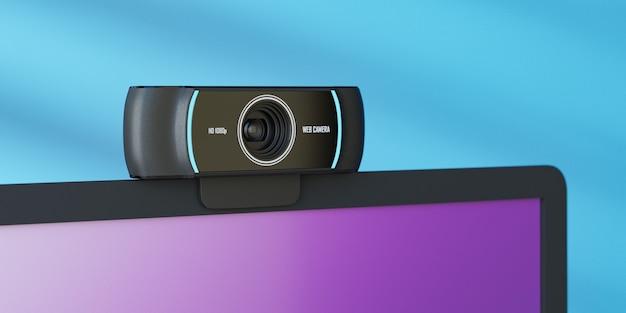 Objeto de renderização 3d. perto da câmera da web colocada na tela do laptop e na parede azul com a luz do sol.