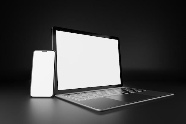 Objeto de renderização de ilustração 3d. computador portátil prateado e preto com tela em branco do smartphone móvel em tema escuro