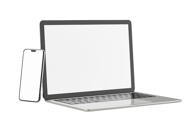 Objeto de renderização de ilustração 3d. prata computador portátil e cor preta com fundo branco isolado de tela em branco móvel do smartphone. imagem do trajeto de grampeamento.
