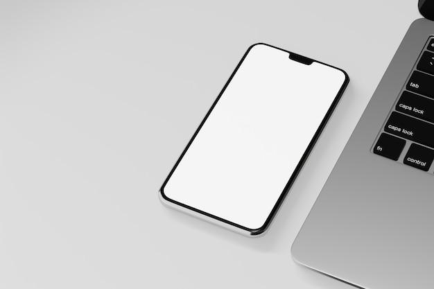 Objeto de renderização de ilustração 3d. tela em branco móvel do smartphone com teclado de laptop em fundo branco.