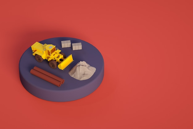 Objetos de ilustração 3d em um pequeno palco amarelo trator canaliza areia ou seixos em blocos de concreto