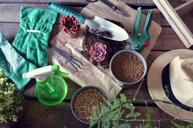 Objetos de jardinagem e plantas na mesa rústica