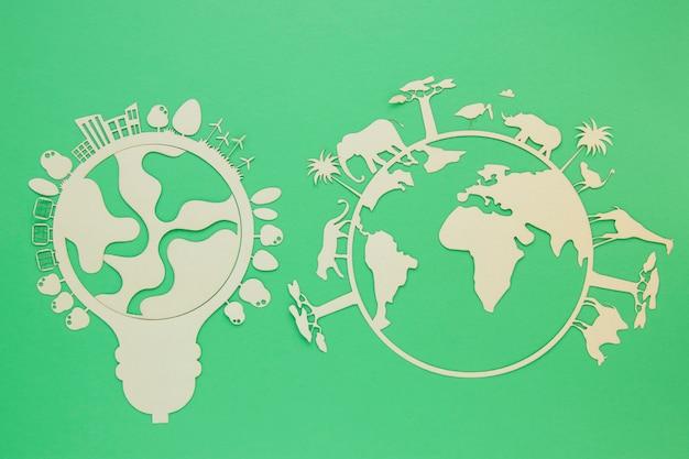 Objetos de madeira plana dia mundial do ambiente dia