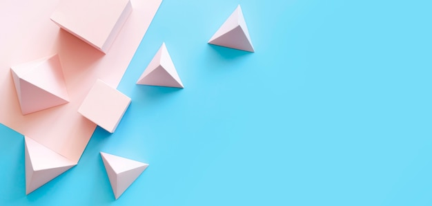 Objetos de papel geométrico de espaço para cópia