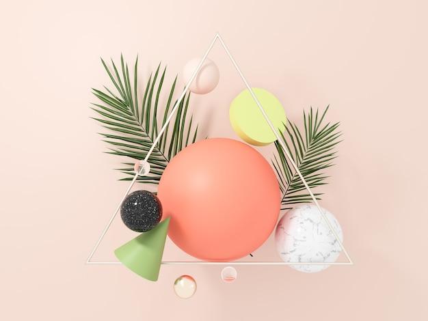 Objetos geométricos voadores abstratos e folhas de palmeira tropicais - 3d rendem.