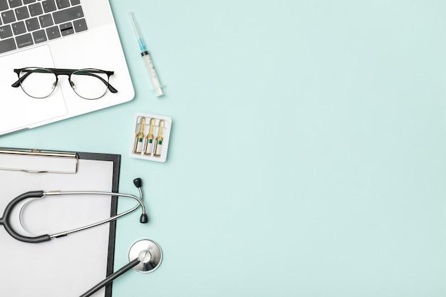 Objetos planos de fundo de saúde médica com espaço de cópia