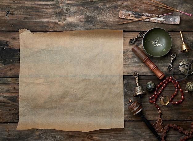 Objetos religiosos tibetanos para meditação e medicina alternativa