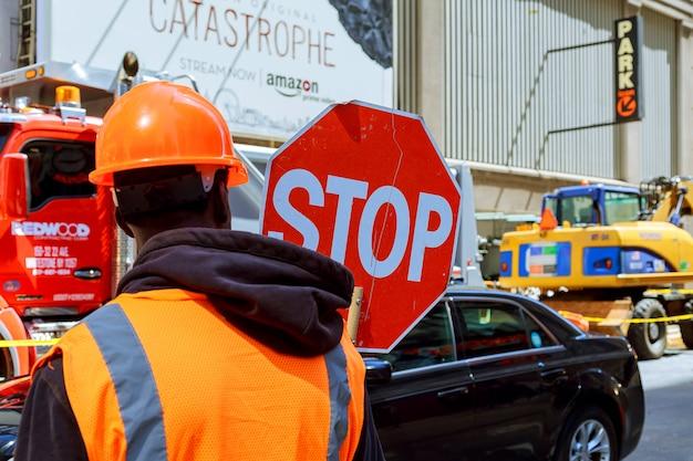 Obras rodoviárias em manhattan, new york city road construction