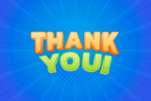 Obrigado! ilustração de tipografia colorida em quadrinhos de texto 3d