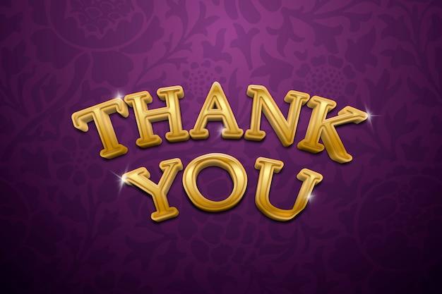 Obrigado, texto 3d em ilustração de tipografia de ouro extravagante