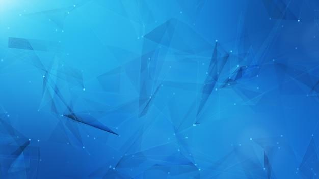 Obscuridade abstrata - nós azuis azuis do triângulo do sistema de dados.