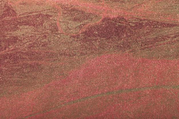Obscuridade do fundo da arte abstrato - vermelho com cor do ouro. pintura multicolorida sobre tela.