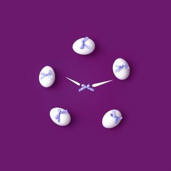 Observe com flechas de ovos brancos com arcos azuis. conceito sobre o tema da páscoa.