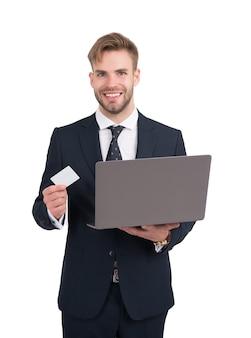 Obtenha mais por menos vendedor feliz com cartão de desconto e laptop compras on-line desconto de preço