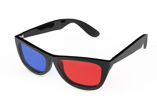 Óculos 3d em estilo retro em um fundo branco. renderização 3d