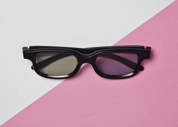 Óculos 3d em um pastel colorido.