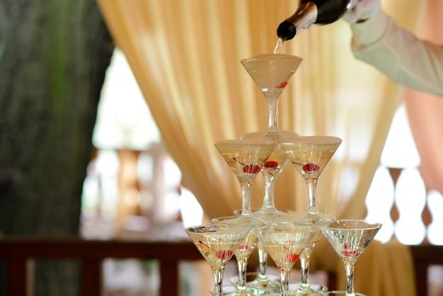 Óculos com champanhe e coquetéis.