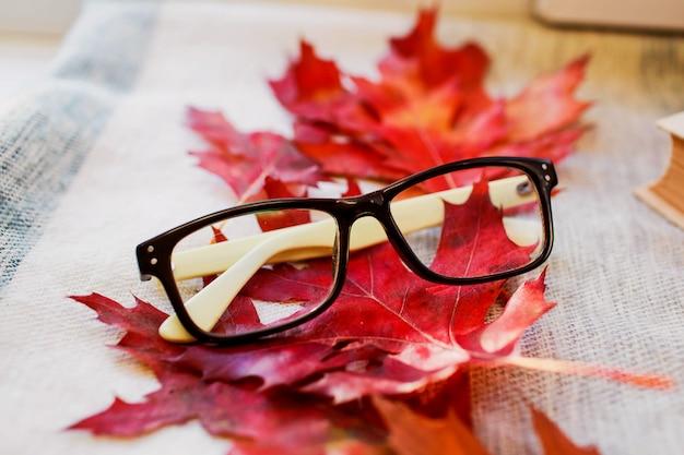 Óculos da moda modernos fundo de folhas brilhantes de outono