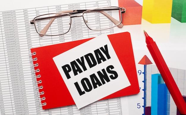 Óculos de aro dourado, caneta vermelha, tabelas de cores e um caderno vermelho com um cartão branco com o texto empréstimos pagamentos no desktop