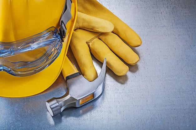 Óculos de plástico capacete de construção luvas de couro martelo de garra
