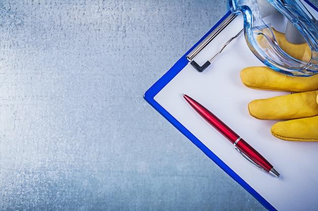 Óculos de plástico luvas de proteção caneta bloco de notas