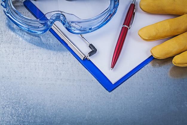 Óculos de plástico luvas de segurança caneta bloco de notas
