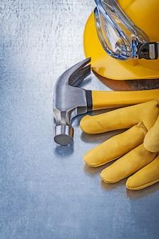 Óculos de proteção capacete construção luvas de segurança martelo de garra
