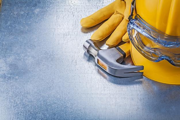 Óculos de proteção capacete luvas de couro martelo de garra