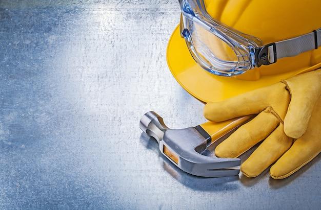 Óculos de proteção luvas construção capacete martelo
