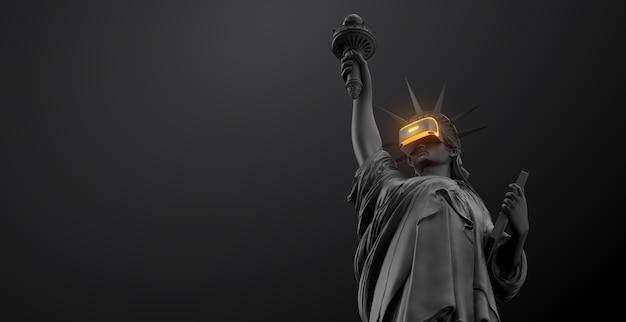 Óculos de realidade virtual com headset vr renderização 3d