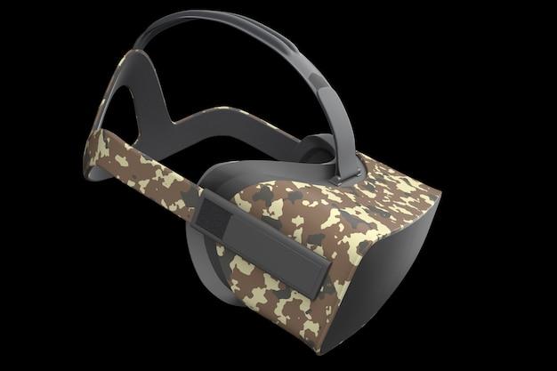 Óculos de realidade virtual isolados no preto com renderização do caminho de recorte d