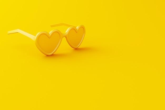 Óculos de sol amarelos do close-up 3d no fundo amarelo.