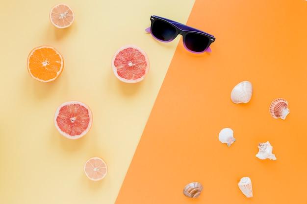 Óculos de sol com frutas cítricas e conchas do mar