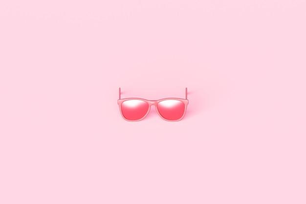 Óculos de sol da moda rosa e lente ótica rosa em fundo de objeto de verão com design moderno de acessórios. renderização 3d.