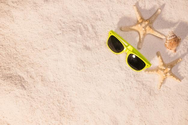 Óculos de sol e marisco estrela do mar na praia