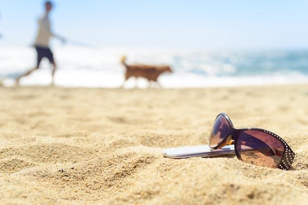 Óculos de sol e telefone na praia com o homem e o cão no fundo
