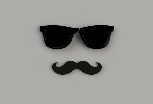Óculos de sol hipster preto e bigode engraçado no backround cinza