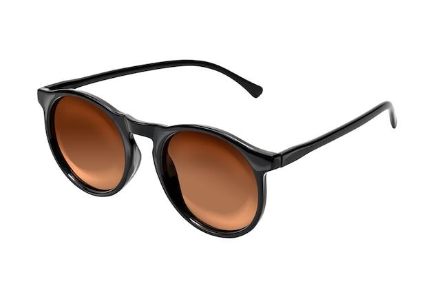 Óculos de sol marrom claro isolados no branco com traçado de recorte